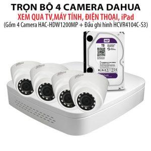 Trọn bộ 4 Camera Dahua HAC-HDW1200MP